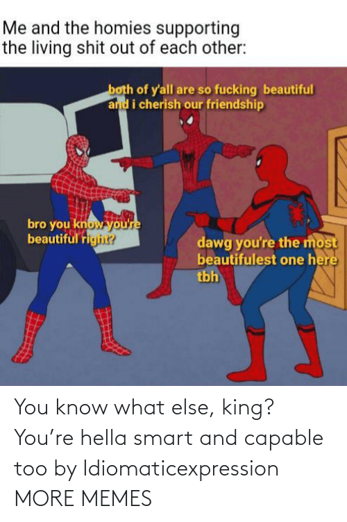 you know what: You know what else, king? You're hella smart and capable too by Idiomaticexpression MORE MEMES