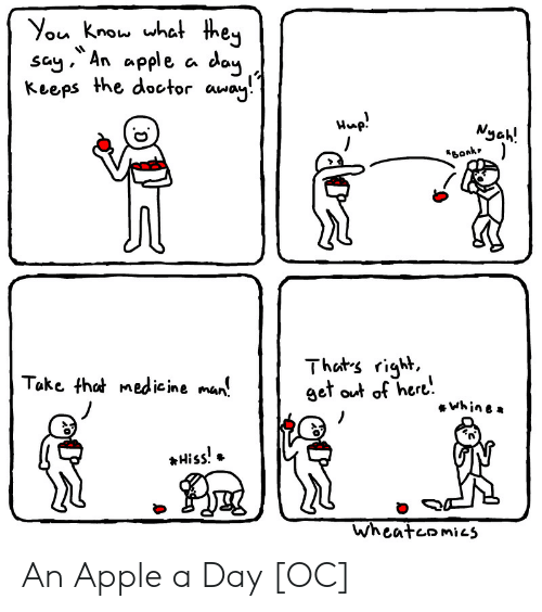 Apple, Doctor, and Medicine: You know what they  say An apple a day  Keeps the doctor away  Wp!  Nyah!  Bonk  Thats right,  get out of here  Take that medicine man  Whine  Hiss!  Wheateomics An Apple a Day [OC]