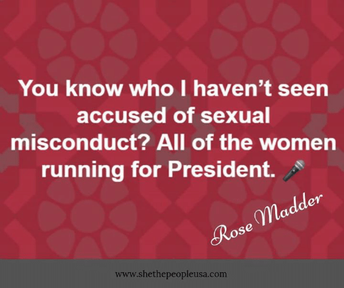 Memes, Rose, and Women: You know who I haven't seen  accused of sexual  misconduct? All of the women  running for President.  en  gpla  Rose  www.shethepeopleusa.com