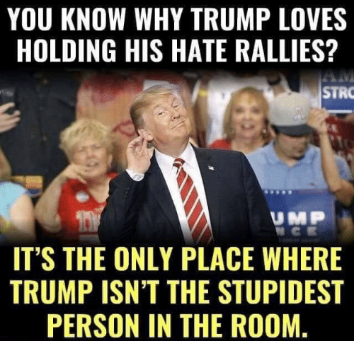 Trump, Why, and You: YOU KNOW WHY TRUMP LOVES  HOLDING HIS HATE RALLIES?  STRO  UMP  IT'S THE ONLY PLACE WHERE  TRUMP ISN'T THE STUPIDEST  PERSON IN THE ROOM.
