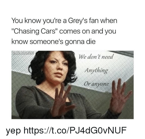 """Cars, Memes, and 🤖: You know you're a Grey's fan when  """"Chasing Cars"""" comes on and you  know someone's gonna die  We don't need  Anything  Or anyone yep https://t.co/PJ4dG0vNUF"""