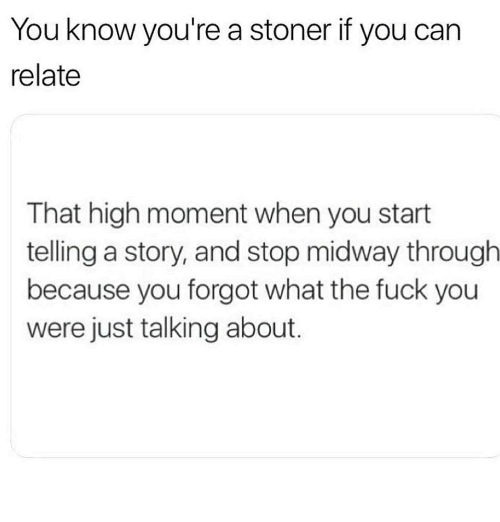 Fuck You, Memes, and Fuck: You know you're a stoner if you can  relate  That high moment when you start  telling a story, and stop midway througlh  because you forgot what the fuck you  were just talking about