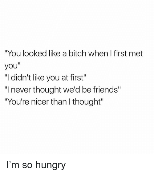 """Bitch, Friends, and Hungry: """"You looked like a bitch when I first met  you""""  """"I didn't like you at first""""  I never thought we'd be friends""""  """"You're nicer than I thought"""" I'm so hungry"""