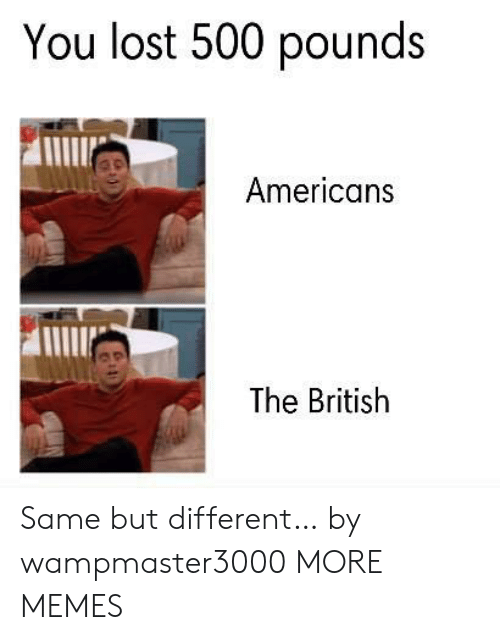 You Lost: You lost 500 pounds  Americans  The British Same but different… by wampmaster3000 MORE MEMES