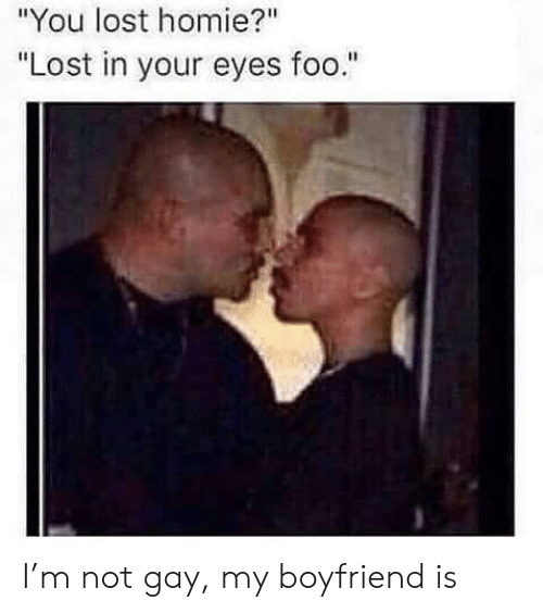 """You Lost: """"You lost homie?""""  """"Lost in your eyes foo."""" I'm not gay, my boyfriend is"""