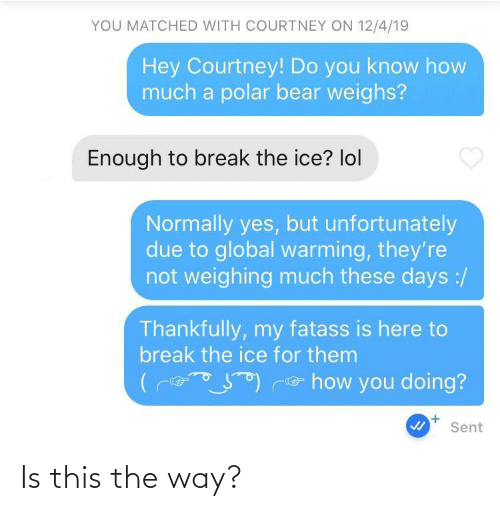Global Warming, Lol, and Bear: YOU MATCHED WITH COURTNEY ON 12/4/19  Hey Courtney! Do you know how  much a polar bear weighs?  Enough to break the ice? lol  Normally yes, but unfortunately  due to global warming, they're  not weighing much these days :/  Thankfully, my fatass is here to  break the ice for them  e how you doing?  +.  Sent Is this the way?