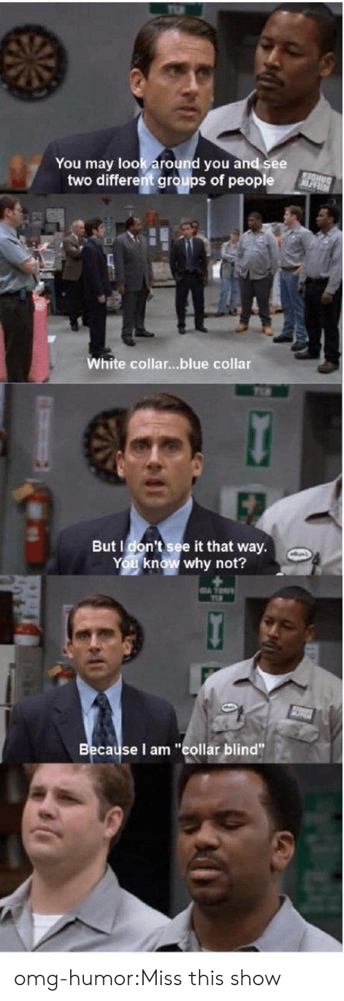 "Omg, Tumblr, and Blog: You may look around you and see  two different groups of people  White collar...blue collar  But I don't see it that way  You know why not?  cause I am ""collar blind"" omg-humor:Miss this show"