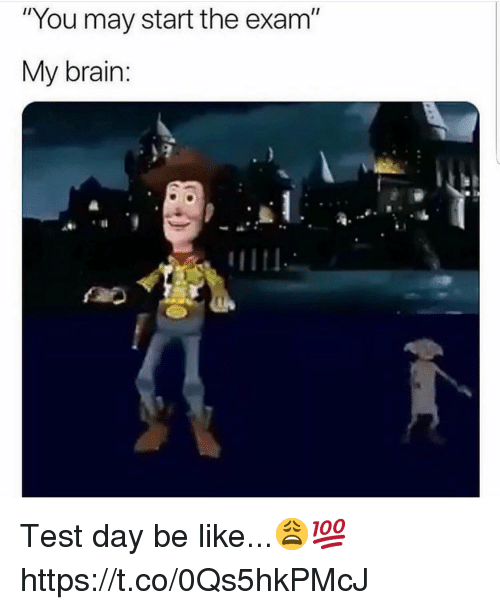 """Be Like, Brain, and Test: """"You may start the exam""""  My brain: Test day be like...😩💯 https://t.co/0Qs5hkPMcJ"""