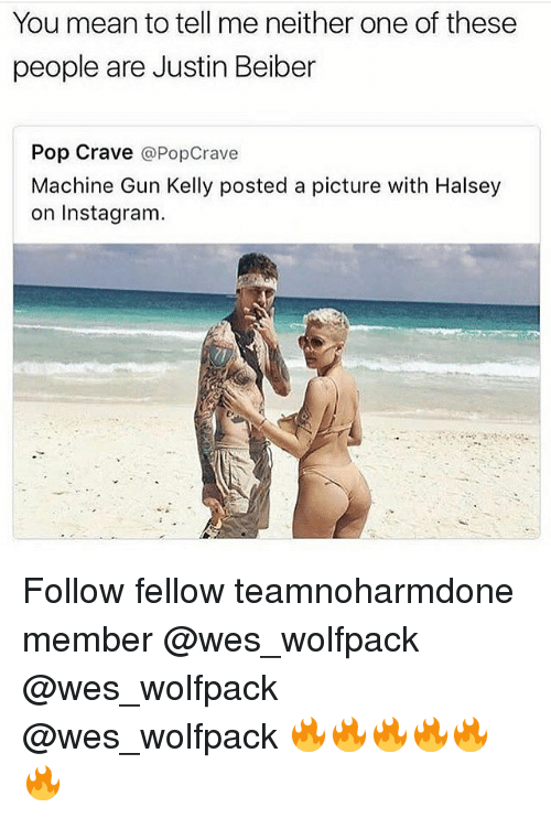 You Mean To Tell Me: You mean to tell me neither one of these  people are Justin Beiber  Pop Crave @PopCrave  Machine Gun Kelly posted a picture with Halsey  on Instagram. Follow fellow teamnoharmdone member @wes_wolfpack @wes_wolfpack @wes_wolfpack 🔥🔥🔥🔥🔥🔥