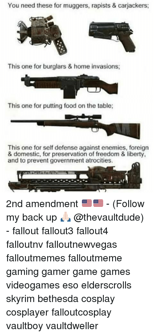 Food, Memes, and Skyrim: You need these for muggers, rapists & carjackers:  This one for burglars & home invasions;  This one for putting food on the table;  This one for self defense against enemies, foreign  & domestic, for preservation of freedom & liberty.  and to prevent government atrocities. 2nd amendment 🇺🇸🇺🇸 - (Follow my back up 🙏🏻 @thevaultdude) - fallout fallout3 fallout4 falloutnv falloutnewvegas falloutmemes falloutmeme gaming gamer game games videogames eso elderscrolls skyrim bethesda cosplay cosplayer falloutcosplay vaultboy vaultdweller