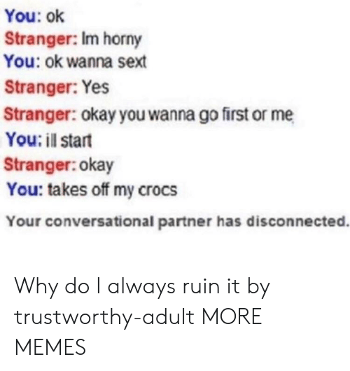 disconnected: You: ok  Stranger: Im horny  You: ok wanna sext  Stranger: Yes  Stranger: okay you wanna go first or me  You: il start  Stranger:okay  You: takes off my crocs  Your conversational partner has disconnected. Why do I always ruin it by trustworthy-adult MORE MEMES