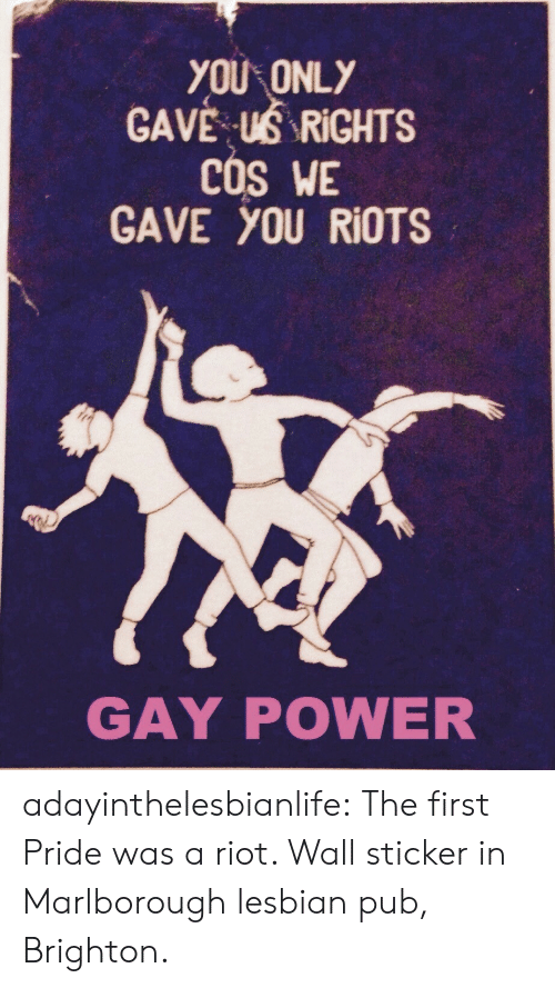 Riot, Tumblr, and Blog: YOU ONLY  GAVE . US RİGHTS  COS WE  GAVE you RioTS  GAY POWER adayinthelesbianlife:  The first Pride was a riot.   Wall sticker in Marlborough lesbian pub, Brighton.