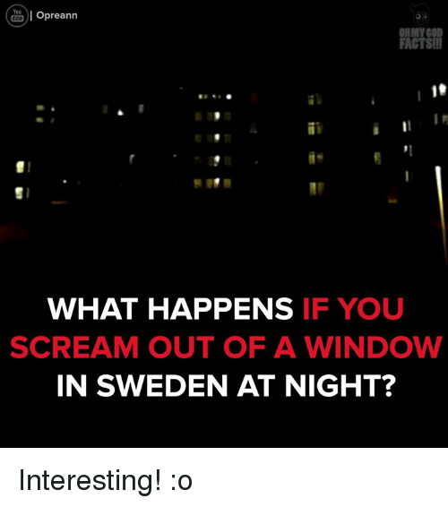 Memes, Scream, and Windows: You  Opreann  Ol OHMY GOD  FACTSII  WHAT HAPPENS  IF YOU  SCREAM OUT OF A WINDOW  IN SWEDEN AT NIGHT? Interesting! :o