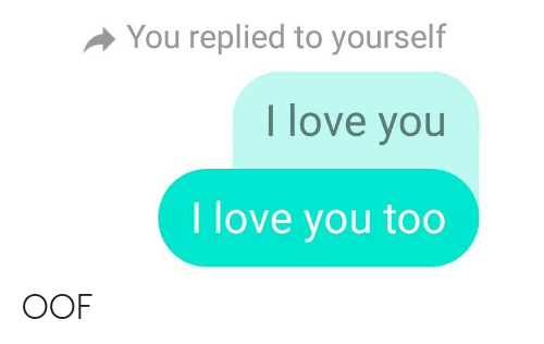 Love, I Love You, and You: You replied to yourself  I love you  I love you too OOF