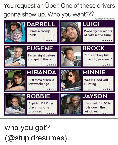 "Memes, Music, and Uber: You request an Uber. One of these drivers  gonna show up. Who you want???  22?  @stupidResumes  DARRELL  LUIGI  et Blv  Drives a pickup  truck  Probably has a brick  of coke in the trunk  EUGENE  BROCK  Farted right before  you got in the car  This isn't my full  time job, ya know..""  MIRANDAMINNIE  Just moved here a  few weeks ago  Was in Good Will  Hunting  ROBBIE  JAYSON  Aspiring DJ. Only  plays music he  produced  If you ask for AC he  rolls down the  windows who you got? (@stupidresumes)"