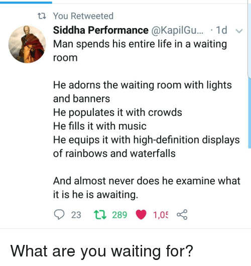 Waiting Room: You Retweeted  Siddha Performance @KapilGu... '1d v  Man spends his entire life in a waiting  room  He adorns the waiting room with lights  and banners  He populates it with crowds  He fills it with music  He equips it with high-definition displays  of rainbows and waterfalls  And almost never does he examine what  it is he is awaiting  23 tl 289  1,05 What are you waiting for?
