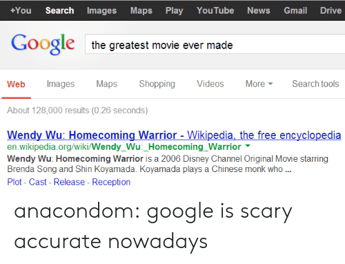 Disney, Google, and News: +You Search ImagesMaps Play YouTube News Gmail Drive  Google  the greatest movie ever made  Web Images MapsShopping Videos More Search tools  About 128,000 results (0.26 seconds)  Wendy Wu: Homecoming Warrior - Wikipedia, the free encyclopedia  en.wikipedia.org/wiki/Wendy_Wu:_Homecoming_Warrior  Wendy Wu: Homecoming Warrior is a 2006 Disney Channel Original Movie starring  Brenda Song and Shin Koyamada. Koyamada plays a Chinese monk who  Plot- Cast- Release - Reception anacondom:  google is scary accurate nowadays