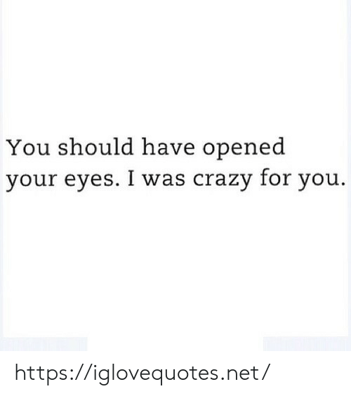 Crazy, Net, and You: You should have opened  your eyes. I was crazy for you. https://iglovequotes.net/