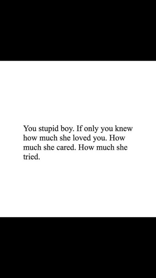 Boy, How, and She: You stupid boy. If only you knew  how much she loved you. How  much she cared. How much she  tried.