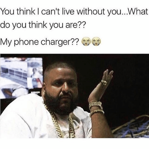 Phone Charger: You think can't live without you.. What  do you think you are??  My phone charger