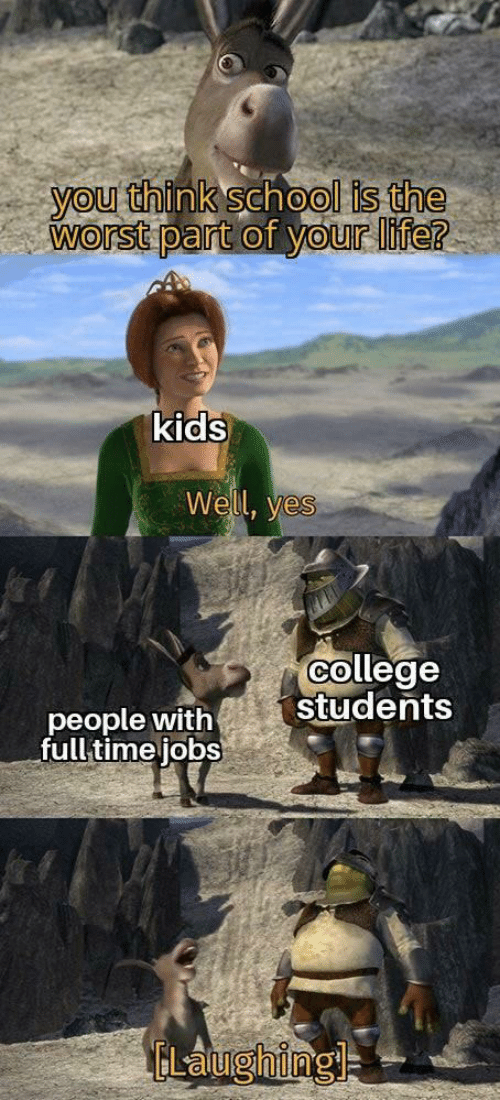 your life: you think school is the  worst part of your life?  kids  Well, yes  college  students  people with  full time jobs  ELaughingl