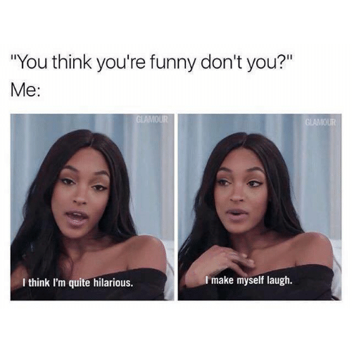 """Funny, Memes, and Quite: """"You think you're funny don't you?""""  Me:  I make myself laugh.  I think I'm quite hilarious."""
