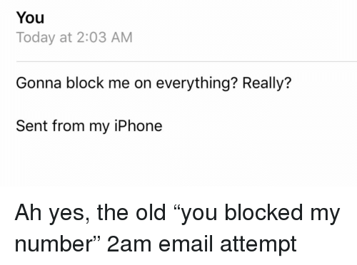 "Iphone, Relationships, and Texting: You  Today at 2:03 AM  Gonna block me on everything? Really?  Sent from my iPhone Ah yes, the old ""you blocked my number"" 2am email attempt"