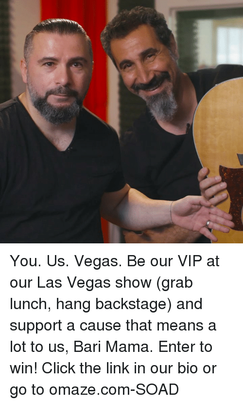 Click, Memes, and Las Vegas: You. Us. Vegas. Be our VIP at our Las Vegas show (grab lunch, hang backstage) and support a cause that means a lot to us, Bari Mama. Enter to win! Click the link in our bio or go to omaze.com-SOAD