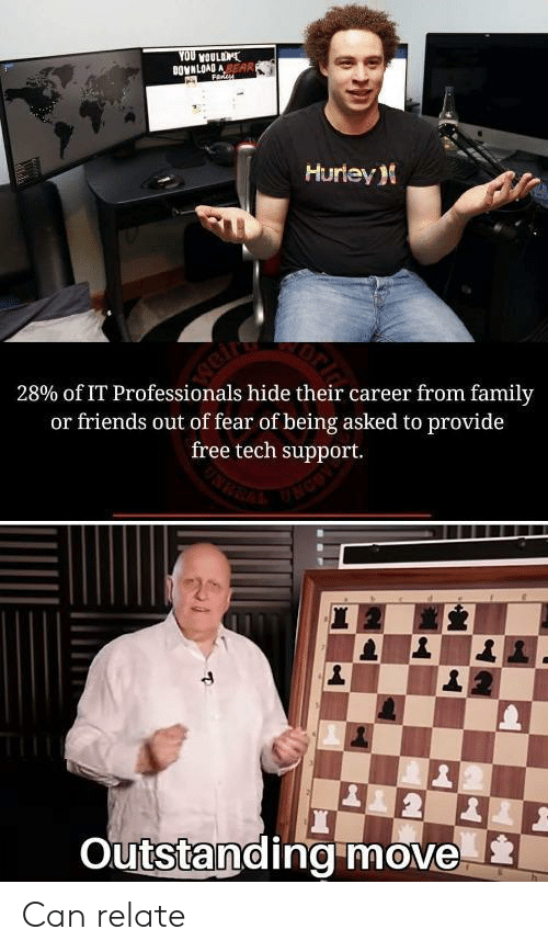Family, Friends, and Free: YOU voULD  DOVNLOAD ASEAR  F  Hurtey  weir  28% of IT Professionals hide their career from family  or friends out of fear of being asked to provide  free tech support.  Outstandingmove Can relate