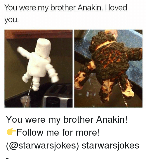 Memes, 🤖, and Brother: You were my brother Anakin. I loved  you. You were my brother Anakin! 👉Follow me for more! (@starwarsjokes) starwarsjokes -
