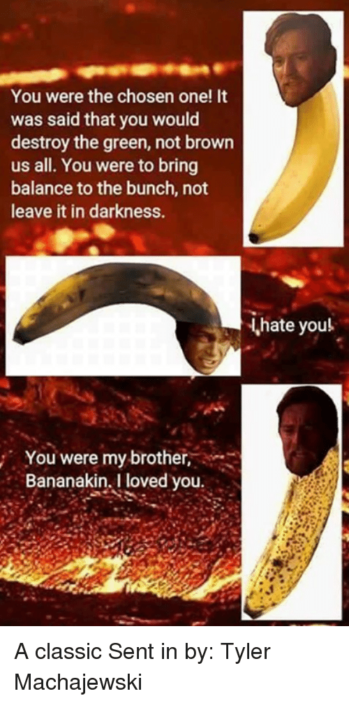 Star Wars, Brother, and Classics: You were the chosen one! It  was said that you would  destroy the green, not brown  us all. You were to bring  balance to the bunch, not  leave it in darkness.  hate youl  You were my brother,  Bananakin, I loved you A classic Sent in by: Tyler Machajewski