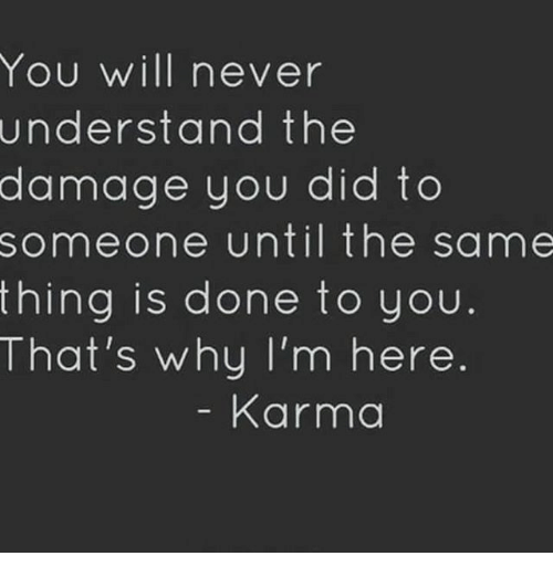 Memes, 🤖, and Damages: You will never  understand the  damage you did to  someone until the same  thing is done to you  That's why I'm here  Karma