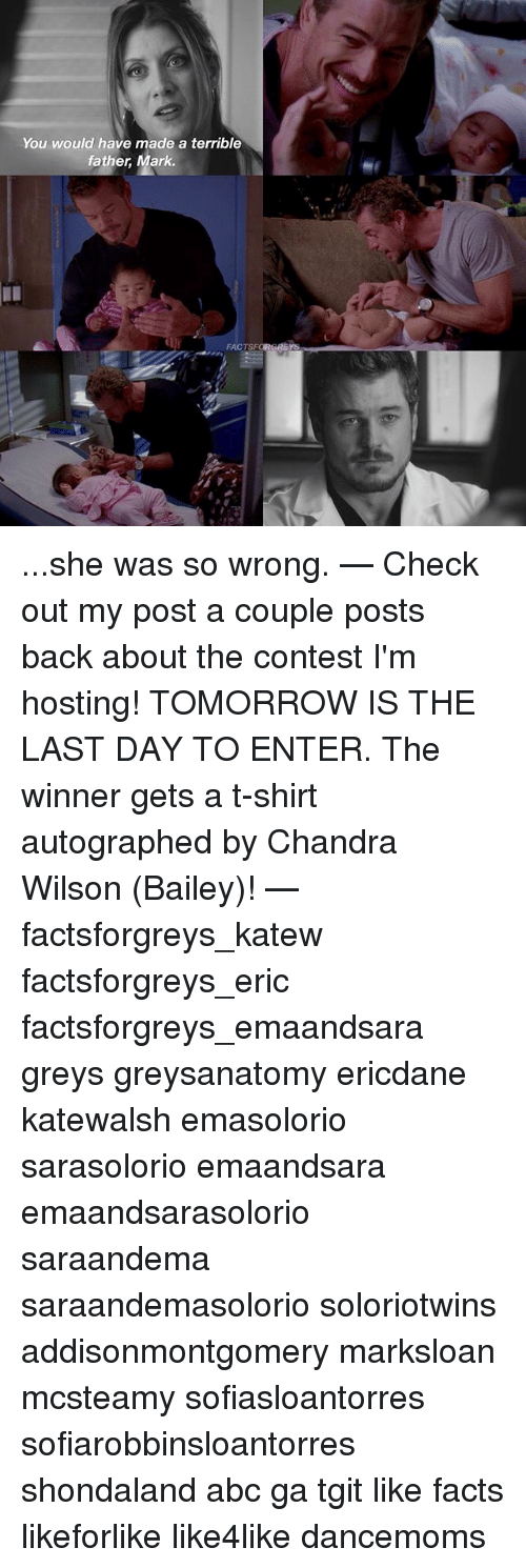Abc, Facts, and Memes: You would have made a terrible  father, Mark ...she was so wrong. — Check out my post a couple posts back about the contest I'm hosting! TOMORROW IS THE LAST DAY TO ENTER. The winner gets a t-shirt autographed by Chandra Wilson (Bailey)! — factsforgreys_katew factsforgreys_eric factsforgreys_emaandsara greys greysanatomy ericdane katewalsh emasolorio sarasolorio emaandsara emaandsarasolorio saraandema saraandemasolorio soloriotwins addisonmontgomery marksloan mcsteamy sofiasloantorres sofiarobbinsloantorres shondaland abc ga tgit like facts likeforlike like4like dancemoms