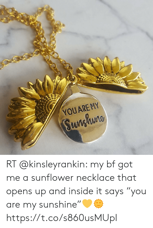 """Memes, 🤖, and Got: YOUARE MY  Sunghuno RT @kinsleyrankin: my bf got me a sunflower necklace that opens up and inside it says """"you are my sunshine""""💛🌞 https://t.co/s860usMUpI"""