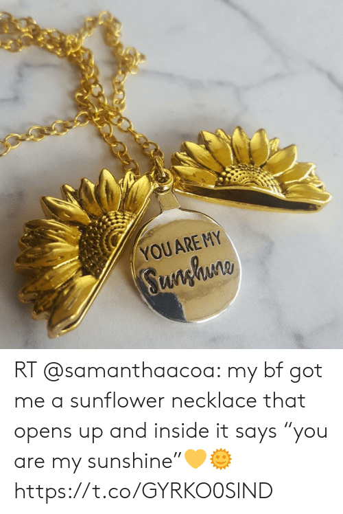 """Got, Sunshine, and Sunflower: YOUARE MY  Sunghuno RT @samanthaacoa: my bf got me a sunflower necklace that opens up and inside it says """"you are my sunshine""""💛🌞 https://t.co/GYRKO0SlND"""