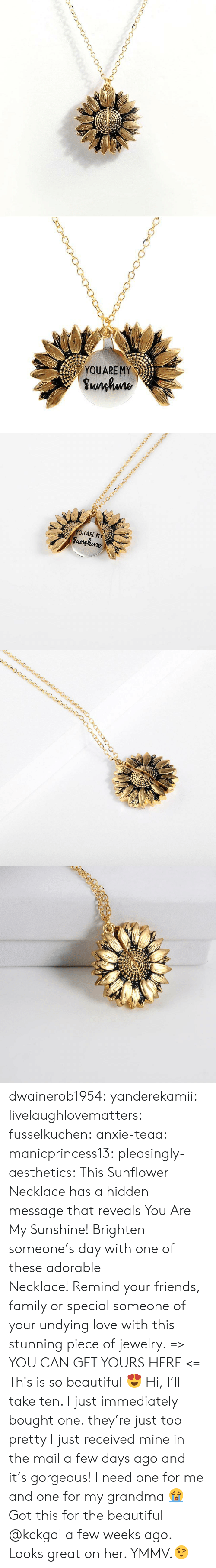 So Beautiful: YOUARE MY  Sunhuno   YOUARE MY  Sunghune dwainerob1954:  yanderekamii:  livelaughlovematters:  fusselkuchen: anxie-teaa:   manicprincess13:   pleasingly-aesthetics:  This Sunflower Necklace has a hidden message that reveals You Are My Sunshine! Brighten someone's day with one of these adorable Necklace! Remind your friends, family or special someone of your undying love with this stunning piece of jewelry. => YOU CAN GET YOURS HERE <=   This is so beautiful 😍    Hi, I'll take ten.    I just immediately bought one. they're just too pretty   I just received mine in the mail a few days ago and it's gorgeous!  I need one for me and one for my grandma 😭  Got this for the beautiful @kckgal a few weeks ago.  Looks great on her. YMMV.😉