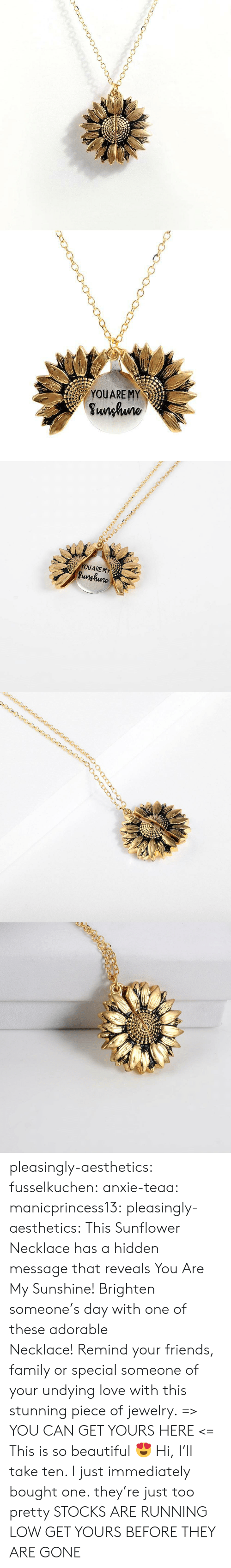 Beautiful, Family, and Friends: YOUARE MY  Sunhuno   YOUARE MY  Sunghune pleasingly-aesthetics:  fusselkuchen: anxie-teaa:   manicprincess13:   pleasingly-aesthetics:  This Sunflower Necklace has a hidden message that reveals You Are My Sunshine! Brighten someone's day with one of these adorable Necklace! Remind your friends, family or special someone of your undying love with this stunning piece of jewelry. => YOU CAN GET YOURS HERE <=   This is so beautiful ?    Hi, I'll take ten.    I just immediately bought one. they're just too pretty   STOCKS ARE RUNNING LOW GET YOURS BEFORE THEY ARE GONE