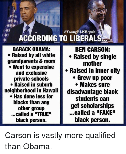"Ben Carson, Memes, and Hawaii: @Young BLKRepub  ACCORDING TO LIBERALS  BARACK OBAMA:  BEN CARSON:  Raised by all white  Raised by single  grandparents & mom  mother  Went to expensive  Raised in inner city  and exclusive  Grew up poor  private schools  Makes sure  Raised in suburb  neighborhood in Hawaii  disadvantage black  Has done less for  students can  blacks than any  get scholarships  other group  ...called a ""FAKE""  ...called a ""TRUE""  black person.  black person. Carson is vastly more qualified than Obama."