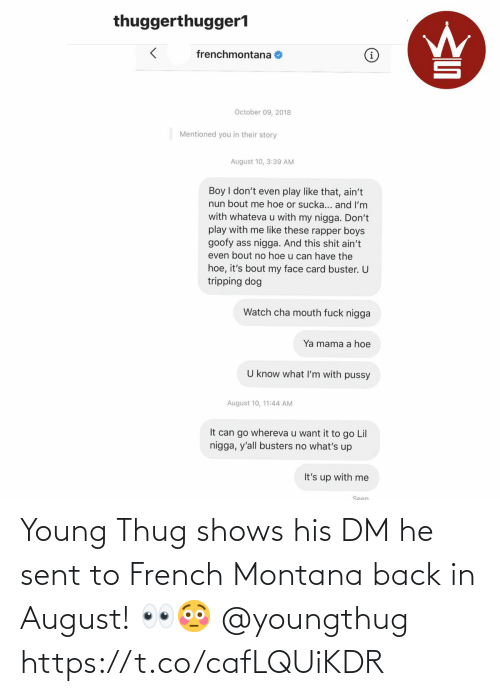 Shows: Young Thug shows his DM he sent to French Montana back in August! 👀😳 @youngthug https://t.co/cafLQUiKDR