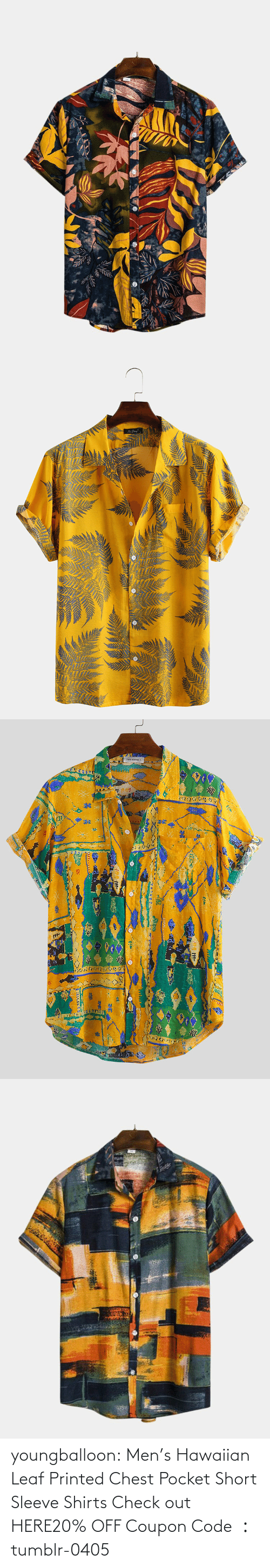 men: youngballoon:  Men's Hawaiian Leaf Printed Chest Pocket Short Sleeve Shirts Check out HERE20% OFF Coupon Code : tumblr-0405