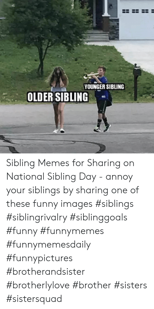 Sibling Memes: YOUNGER SIBLING  OLDER SIBLING Sibling Memes for Sharing on National Sibling Day - annoy your siblings by sharing one of these funny images #siblings #siblingrivalry #siblinggoals #funny #funnymemes #funnymemesdaily #funnypictures #brotherandsister #brotherlylove #brother #sisters #sistersquad