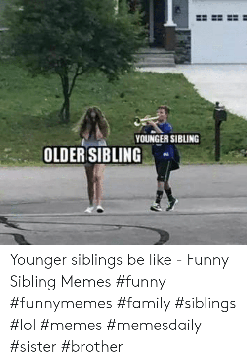 Sibling Memes: YOUNGER SIBLING  OLDER SIBLING Younger siblings be like - Funny Sibling Memes #funny #funnymemes #family #siblings #lol #memes #memesdaily #sister #brother