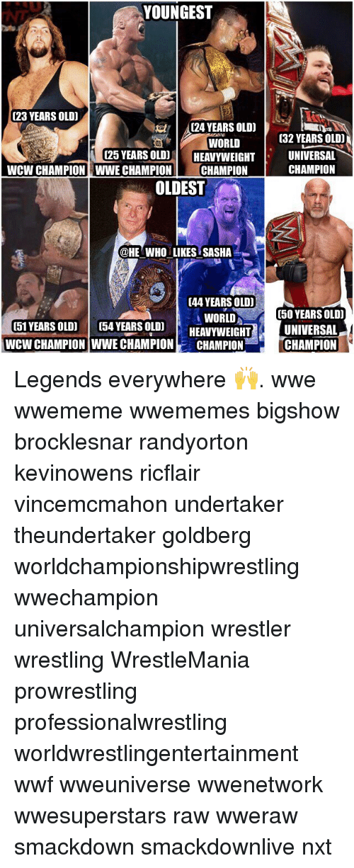 25 Years Old: YOUNGEST  023 YEARS OLD)  t tr 24 YEARS OLD)  WORLD  (25 YEARS OLD)  HEAVYWEIGHT  WCW CHAMPION WWE CHAMPION  CHAMPION  OLDEST  @HE WHO LIKES SASHA  (44 YEARS OLD)  WORLD  (51 YEARS OLD)  054 YEARS OLDI  HEAVYWEIGHT  WCW CHAMPION WWE CHAMPION  CHAMPION  032 YEARS OLD  UNIVERSAL  CHAMPION  (50 YEARS OLD  UNIVERSAL  CHAMPION Legends everywhere 🙌. wwe wwememe wwememes bigshow brocklesnar randyorton kevinowens ricflair vincemcmahon undertaker theundertaker goldberg worldchampionshipwrestling wwechampion universalchampion wrestler wrestling WrestleMania prowrestling professionalwrestling worldwrestlingentertainment wwf wweuniverse wwenetwork wwesuperstars raw wweraw smackdown smackdownlive nxt
