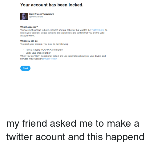 Your Account Has Been Locked Dank Thanos TheWarlord What Happened