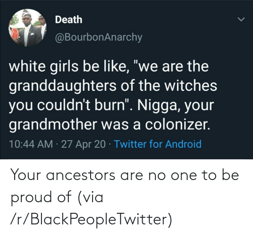 R Blackpeopletwitter: Your ancestors are no one to be proud of (via /r/BlackPeopleTwitter)