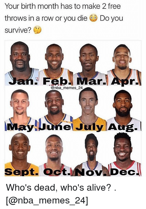 Nba Memes: Your birth month has to make 2 free  throws in a row or you die Do you  survive?  an Feb Mar. Apr  @nba memes 24  ayuune July AU  ct.  ec Who's dead, who's alive? . [@nba_memes_24]