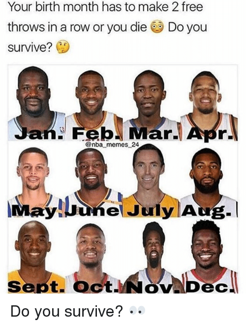 Nba Memes: Your birth month has to make 2 free  throws in a row or you die Do you  survive? (1)  @nba memes 24  ayluune July Aug.I  Sept. OctNov Dec Do you survive? 👀