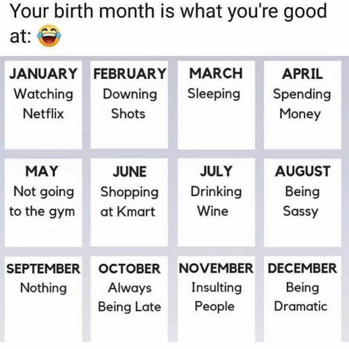 Drinking, Gym, and Memes: Your birth month is what you're good  at:  APRIL  JANUARY FEBRUARY MARCH  Watching Downing Sleeping Spending  Netflix  Shots  Money  JULY  AUGUST  Being  Sassy  MAY  JUNE  Not going Shopping Drinking  at Kmart  Wine  to the gym  SEPTEMBER OCTOBER NOVEMBER DECEMBER  Nothing  Insulting  Being Late People  Being  Dramatic  Always