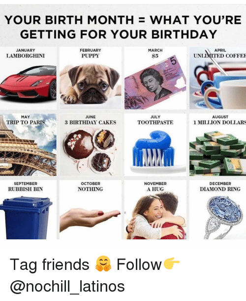 cakes: YOUR BIRTH MONTH WHAT YOU'RE  GETTING FOR YOUR BIRTHDAY  JANUARY  LAMBORGHINI  FEBRUARY  PUPPY  MARCH  $5  APRIL  UNLİMITEDCOFFER  MAY  TRIP TO PARIS  JUNE  3 BIRTHDAY CAKES  JULY  TOOTHPASTE  AUGUST  1 MILLION DOLLARS  SEPTEMBER  RUBBISH BIN  OCTOBER  NOTHING  NOVEMBER  A HUG  DECEMBER  DIAMOND RING Tag friends 🤗 Follow👉 @nochill_latinos