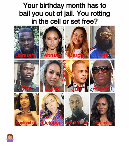 Birthday Month: Your birthday month has to  bail you out of jail. You rotting  in the cell or set free?  Jry FebruaryMarApril  anua  May June July August  SeptmberOctober November December 🤷🏽♀️